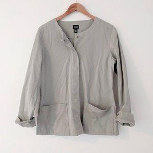 Eileen Fisher Beige Hidden Button Utility Jacket